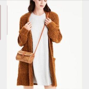AE mustard brown boucle cardigan grandpa sweater